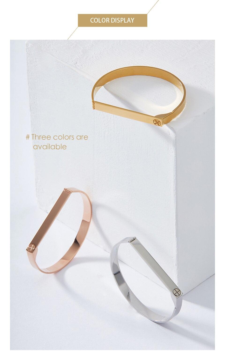 Enfashion Personalized Engraved Name Bracelet Gold Color Bar Screw Bangle Lovers Bracelets For Women Men Cuff Bracelets Bangles 11