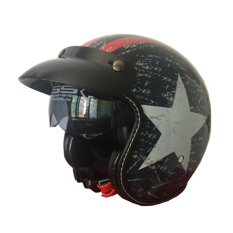 Vintage Motorcycle Scooter Open-Face Helmet with Inner-Sunglass Casco