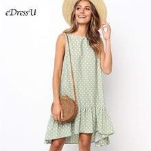 Женское свободное платье в горошек повседневное зеленое без