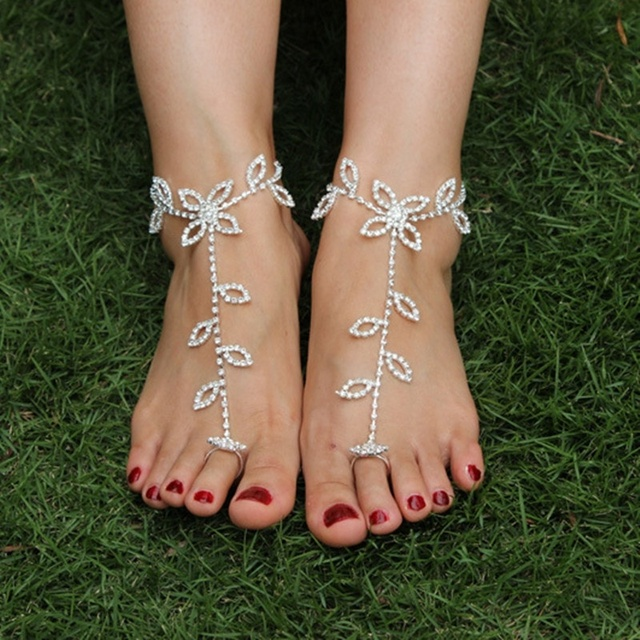 1 Pair Fashion Leaves Pattern Inlay Rhinestone Ankle Barefoot