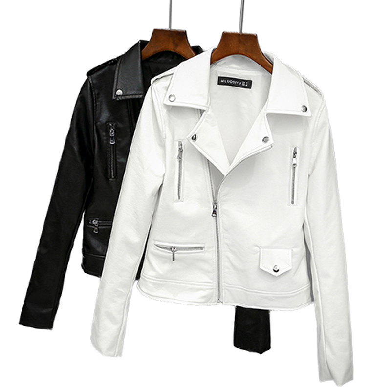 Ailegogo 2018 New Women Biker   Leather   Jacket Spring Autumn Soft PU Punk Outwear Casual Motor Faux   Leather   White Jacket