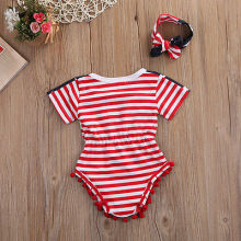 Newborn Baby girls Tassel National Flag Jumpsuit