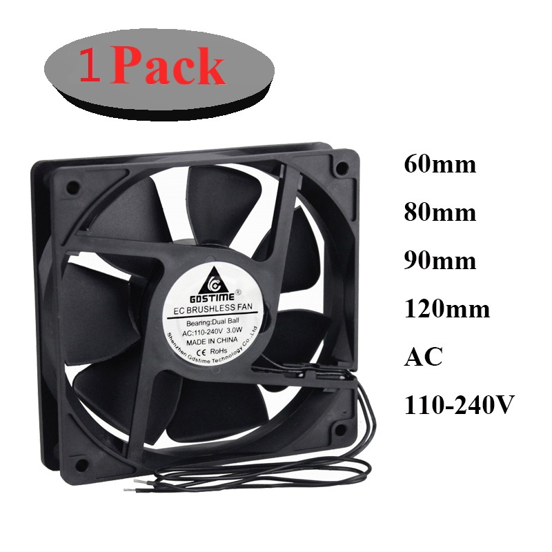 1Pcs <font><b>60mm</b></font> 80mm 90m 120mm AC 110V 220V 240V 3 inch Dual Ball Plastic Universal Cooling Cooler <font><b>PC</b></font> CPU <font><b>Fans</b></font> Airflow For Computers image