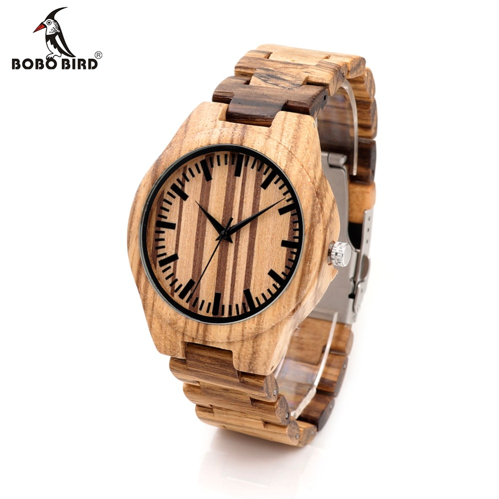 BOBO BIRD Mens Zebra Wooden Bamboo Watches Full Wod Strap Luxury Men's Top Brand Designer Quartz Wristwatch Relogio in Gift Box bobo bird wh05 brand design classic ebony wooden mens watch full wood strap quartz watches lightweight gift for men in wood box