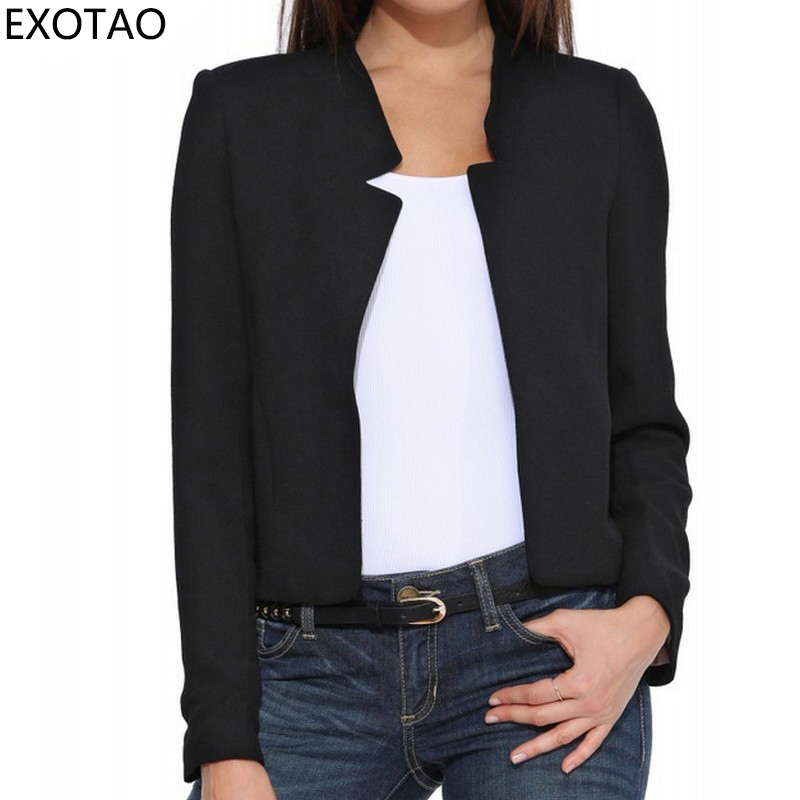 EXOTAO Long Sleeve Stand Neck Female   Jacket   Slim Plus Size Women   Basic   Coats 2019 Spring Chaquetas Open Stitch Black Jaqueta
