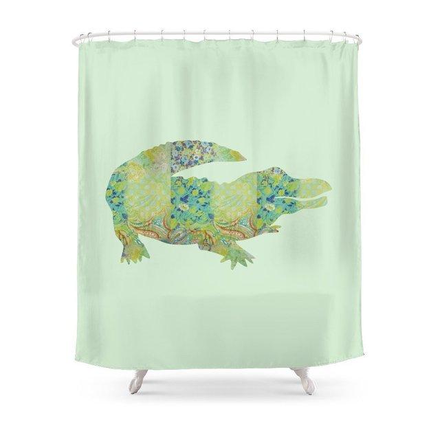 Alligator Crocodile Vintage Floral Pattern Green Teal Mint Blue Shower Curtain Custom For Bathroom Waterproof