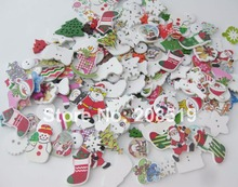 WBNVVO Many christmas buttons mixed lots 100pcs Printed Wood Buttons ornament for home decoration