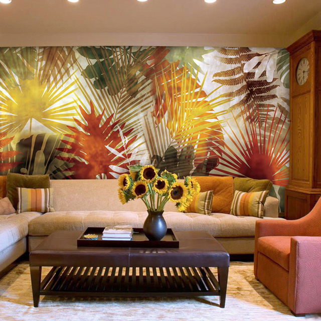 Customized simple modern striped palm leaves pattern mural for Striped wallpaper living room ideas