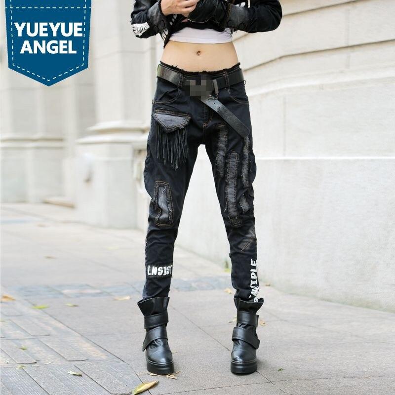 Мотоциклетные байкерские женские панковские шаровары, винтажные Ретро обтягивающие штаны с несколькими карманами, рваные женские длинные ...