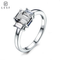 LESF 1.5 ct Three Stone Rings Silver 925 Rings For Women Fashion Jewelry 5A Zircon Engagement Wedding Band Ring