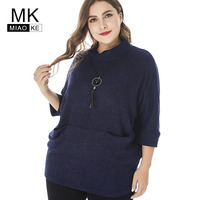 Miaoke 2018 Winter Womens Plus Size turtleneck Sweater High Quality Ladies Vintage Elegant Oversized Sweater and Pullovers
