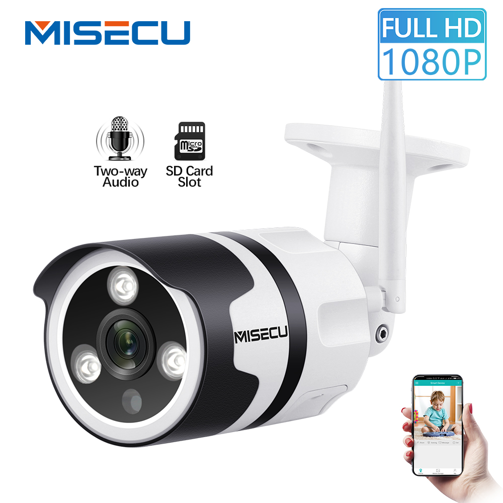 MISECU Wifi cámara IP 1080 P 720 P impermeable al aire libre 2.0MP de seguridad inalámbrica cámara de Metal de dos vías de Audio TF tarjeta onvif P2P bala