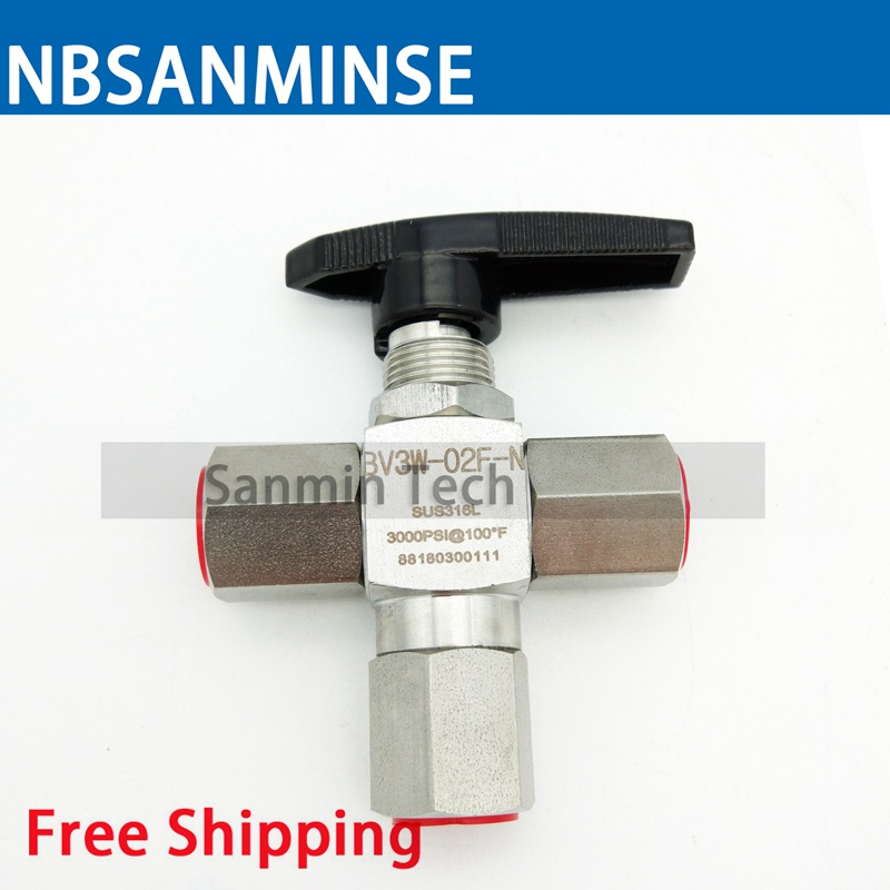 все цены на NBSANMINSE BV3W - OD / F Three way Ball Valve Stainless Steel Valve 1/8 1/4 3/8 1/2 3000 Psi Air Water Stop Valve