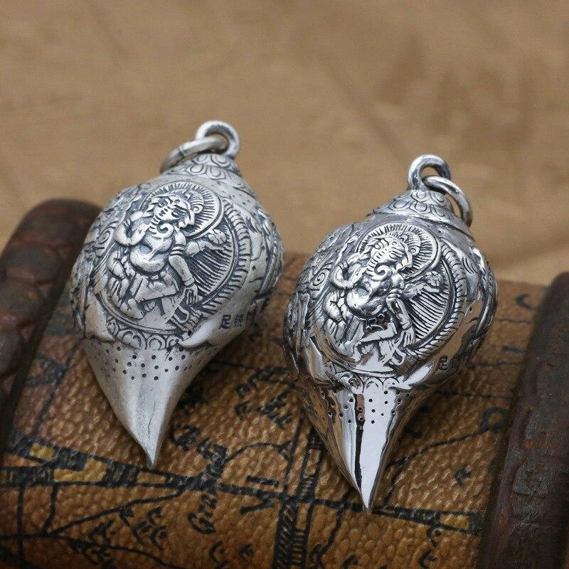 S990 argent Sterling éléphant bouddhiste sauvage rétro Thai argent collier pendentif conque créative avec paix hommes et femmes pendentif