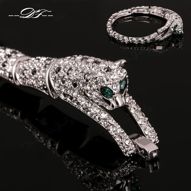 Hot Sale Leopard Look AAA+Cubic Zirconia Charm Bracelets &Bangles White Gold Plated Crystal Jewelry For Women pulseiras DFB008