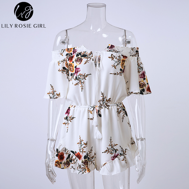 Lily Rosie Girl Off Shoulder White Boho Floral Print Ruffles Playsuits Women Sexy Summer Beach Jumpsuits Short Rompers Overalls
