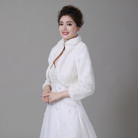 Free Shipping Women Winter Wedding Faux Fur Jacket Bolero Wraps Bridal Coat