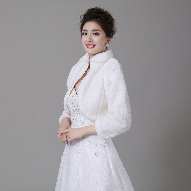 Бесплатная Доставка Женщины Зимняя свадьба искусственного меха куртки болеро обертывания Свадебный Пальто
