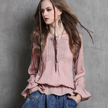 2016 New Summer Spring Ladies Long Sleeve Blouses Ruffles Loose O Neck Women Blouses Boho Embroidery Casual Shirt Women Tops
