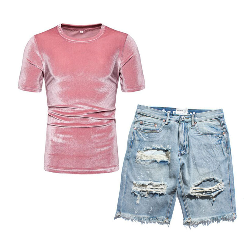 Men Velvet T Shirt And Distressed Jean Shorts Set Fashion Outfit For Summer