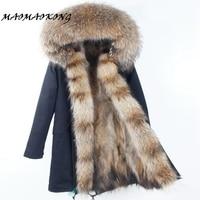 2017 Real Natural Fur Coat Winter Jacket Long Women Raccoon Fur Liner Hooded Parkas Free Shipping