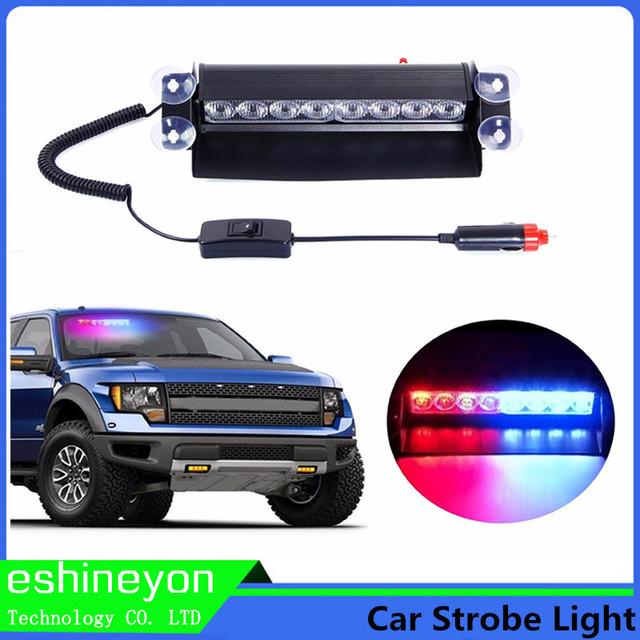 12 W 8 LED Car Vechicle Aviso de Emergência Strobe Flasher Auto luz Polícia Bombeiro Luz Cautela Lâmpada Piloto Vermelha Azul Branco âmbar