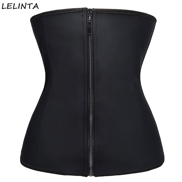 3a1c0cdc63 Womens Workout Latex Waist Trainer Corset Zipper Slimming Body Shaper  Control Tummy Stomach Shapewear Weight Loss Cincher Belt