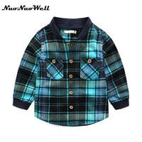 NNW Boys Shirt for Kids Cotton Clothing Fashion New Plaid Shirts Long Sleeve School Trend Children Clothes 3-8 Years