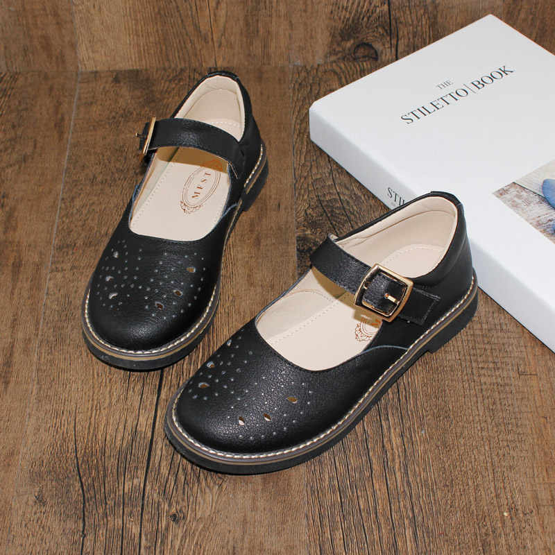 81c1806f1 Пряжка обувь для девочек из натуральной кожи 2018 г. весенние и осенние  новые тонкие туфли
