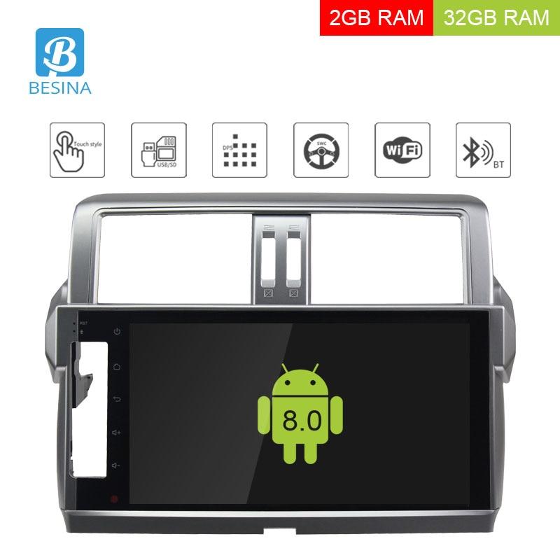 Besina 10.1 Android 8.0 Voiture Lecteur multimédia Pour Toyota Lander Cruiser Prado 150 2014 Voiture Radio Audio GPS Stéréo 2g + 32g WIFI