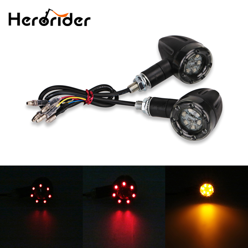 2PCS/1Pair Motorcycle Turn Signal Indicators Stop Light Black For Harley Chopper Motorbike Scooter Rear Turn Signal Led