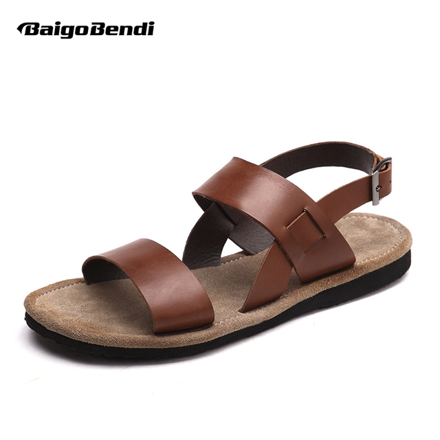 30d400fc5 US6-10 Buckle Strap REAL Leather Casual Summer Beach Sandals Mens Outdoor  Slides Top-