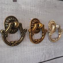 Vintage Dresser Knobs Drop Ring Drawer Pulls Handles Kitchen Cabinet Knob Antique Silver Bronze Brass Cupboard Furniture