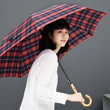 Tiohoh Bamboo Handle Umbrella Rain Women British Style Scottish Plaid Long Stick Windproof Three Folding Umbrellas Men