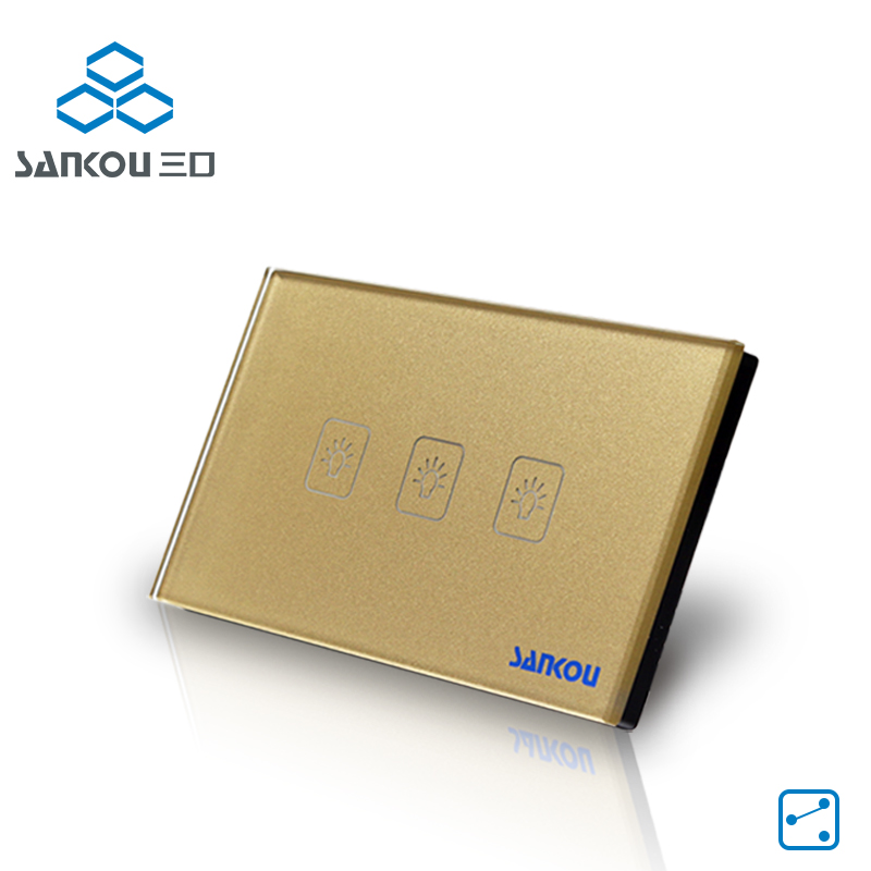 SANKOU Wall Light Touch Sensor Switches 3Gang2Way Golden Glass Panel+LED US/AU Standard Touch Switch AC110V-250V Free Shipping wall light touch sensor switch 3gang1way golden glass panel led us au standard touch switches ac220v 110v smart home