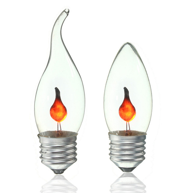 3w Vintage Led Light Bulb E27 Energy Saving Fire Flickering Flame Candle Tail Chandelier Flicker