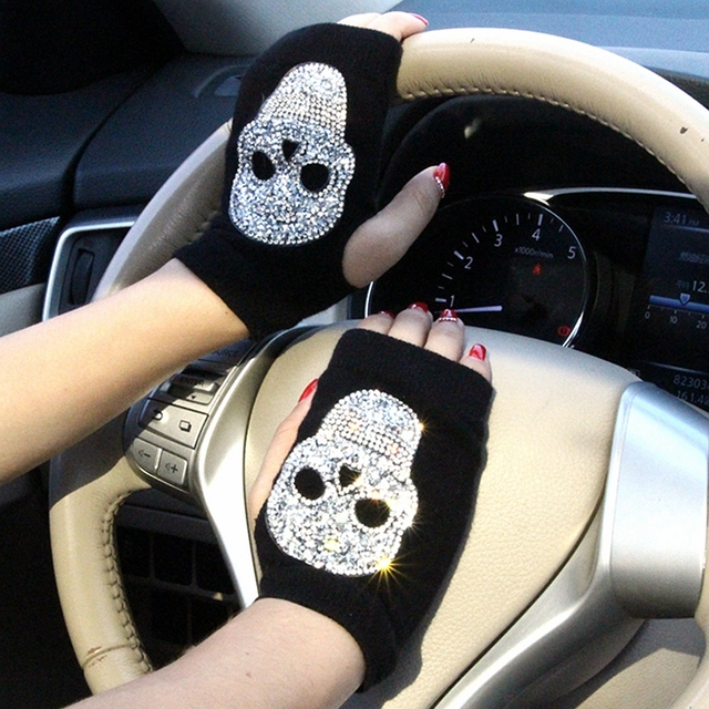 Winter Gloves Women Rhinestone Skull A+ Diamond Crown Half Finger Warm Knitted Black Mittens students Gants Femme 1