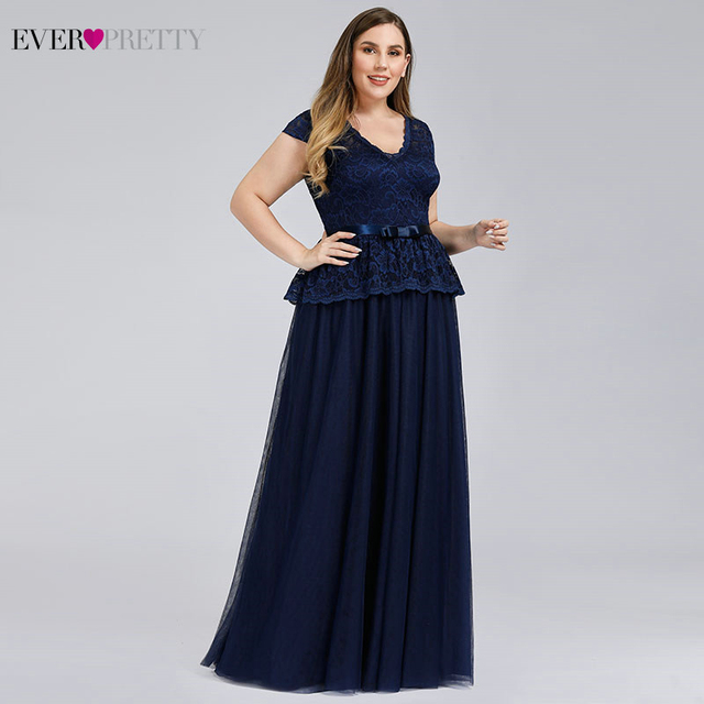 Navy Blue Evening Dresses Ever Pretty A-Line V-Neck Bow Sashes Elegant Evening Gowns Plus Size Lace Formal Dresses Robe Longue 1