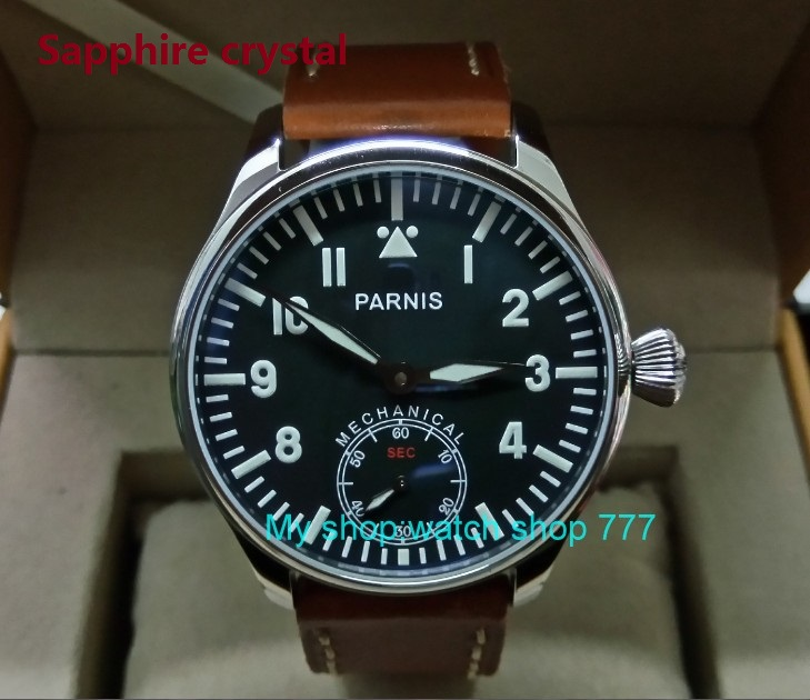 Sapphire crystal Blue luminous 44mm parnis Black dial 6498 / ST3621 Mechanical Hand Wind movement men's watches 0144A blue luminous 44mm parnis 6498 st3621 mechanical hand wind movement men s watches sapphire crystal mechanical watches 0015
