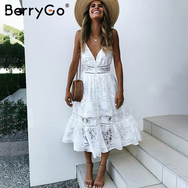 BerryGo v neck sexy lace summer dress women Strap button casual white dress female Streetwear backless midi dress vestidos 2019 Платье