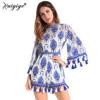 2018 Ruiyige Boho Casual WomenLace Embroidered High Spilt Speaker Playsuit Pants Beach Blue Summer Spring Short