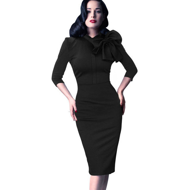 b0638979 1950s 60s Vintage Retro Style Half Sleeve Rockabilly Pin up Bodycon Pencil  Black Red Green Dress