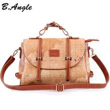2016  fashion Vintage high quality world map man woman messenger bag handbag shoulder