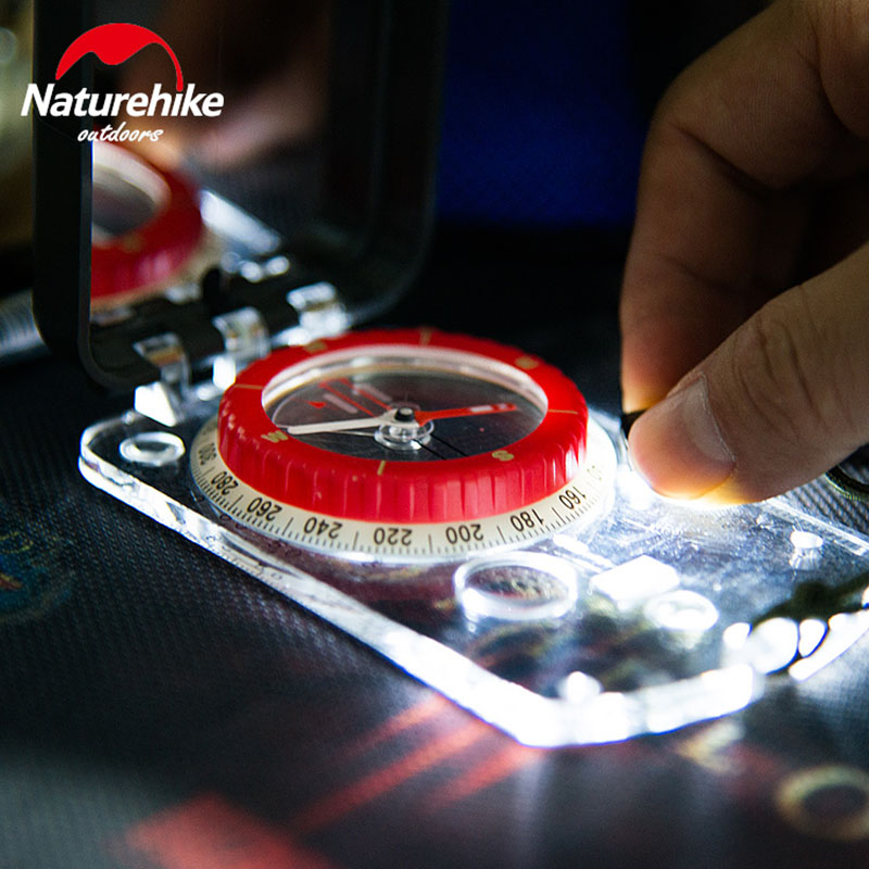 NatureHike Luminous Compass With Mirror LED Light Durable Anti-shock Stable Waterproof Hiking Climbing Multifunctional Compass