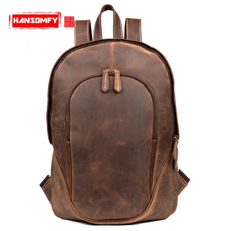 New retro art leather Men backpack male casual luxury fashion shoulder Bags female Genuine leather travel computer laptop bag 2018 new retro style men s shoulder bag canvas bag with leather backpack out door casual travel bag computer bags multi function