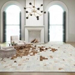 Luksusowa ze skóry bydlęcej w stylu amerykańskim ze szwem w kratę  naturalny futrzany dywan z cielęcej skóry do dekoracji salonu dywan biurowy w Dywany od Dom i ogród na