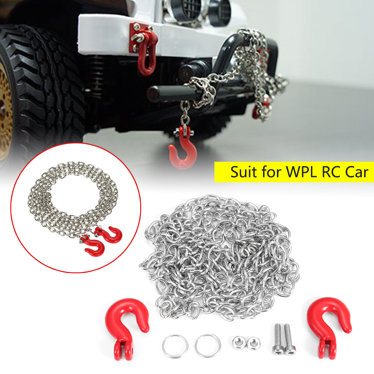 Metal Trailer Hook&Chain Spare Part For WPL B-1 B-16 B-24 C14 RC Military Truck Cool and Attractive Red & Silver Durable Replace