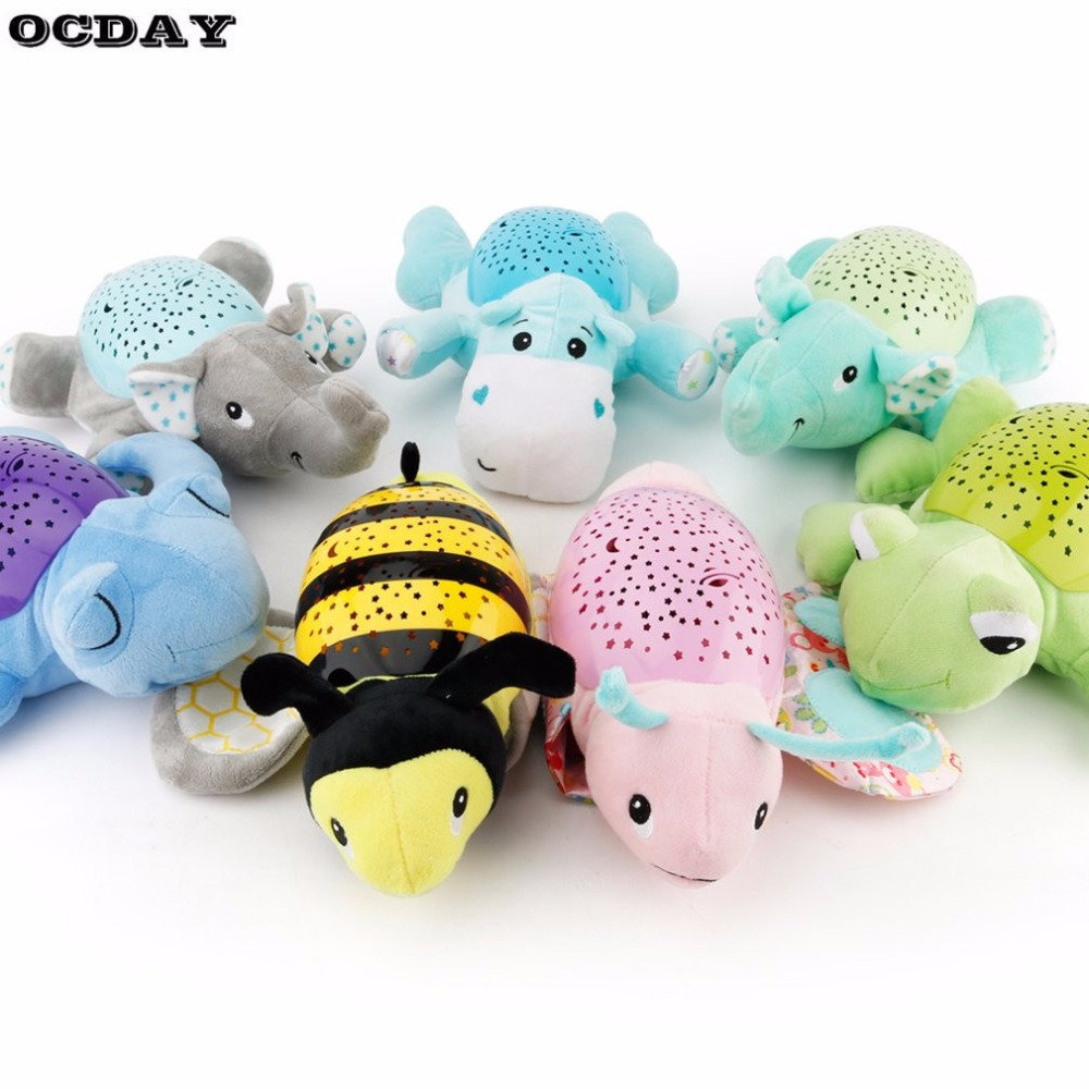 Baby Sleep Led Night Light Plush Stuffed Animal Toys Projector