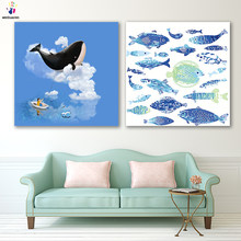 DIY colorings pictures by numbers with colors goldfish whale Fish and diamonds picture drawing painting by numbers framed Home(China)