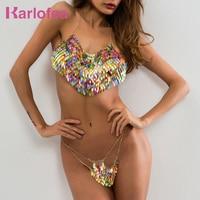 Karlofea Sexy Women Metal Two Piece Biquini Set Chain Top Sequin V Neck Handmade Luxury Beach Nightclub Party 2018 Summer Pants